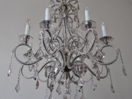 The 8 arms crystal chandelier - Smoke crystal glass and cut pearls