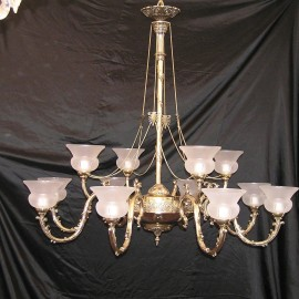 The design cast brass chandelier with sand-blasted vases