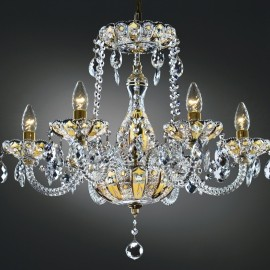 6-Arams Crystal chandelier high enamel on a golden background
