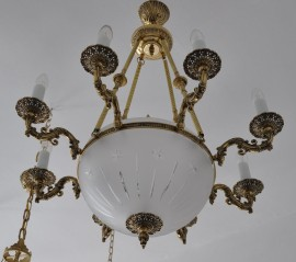 The 8 Arms Cast brass basket chandelier - cut sadblasted glass