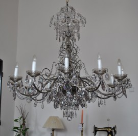 The 12 arms crystal chandelier - Smoke crystal glass & Glittering cut pearls