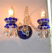 Blue crystal wall sconce - hand cut cased glass